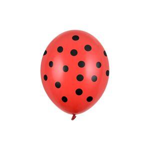 PartyDeco Latexový balón - červený s čiernymi bodkami