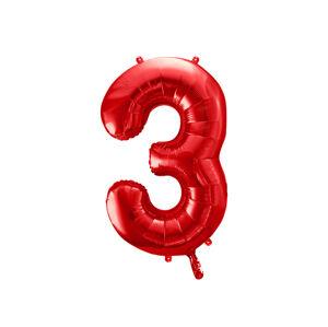 PartyDeco Balónik fóliový narodeninové číslo 3 červený 86 cm