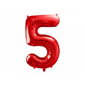 PartyDeco Balónik fóliový narodeninové číslo 5 červený 86 cm
