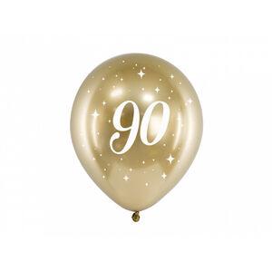 PartyDeco Latexové balóniky - zlaté číslo 90 6 ks