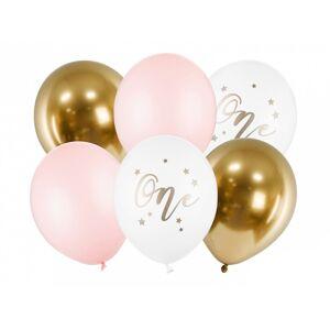 PartyDeco Latexové balóny - Prvé narodeniny ružové 6 ks