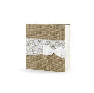 PartyDeco Kniha hostí v jutovej tkanine s mašľou