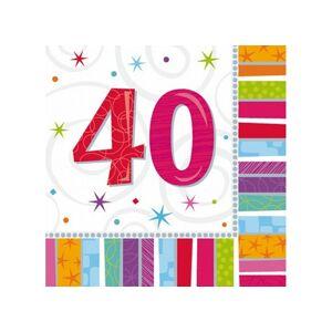 Amscan Servítky 40. šťastné narodeniny 33 x 33 16 ks