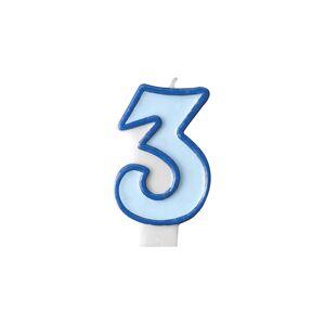 PartyDeco Narodeninová sviečka s číslom 3 modrá