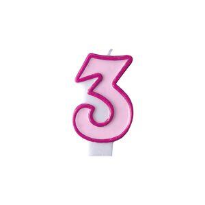 PartyDeco Narodeninová sviečka s číslom 3 ružová