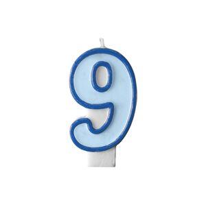 PartyDeco Narodeninová sviečka s číslom 9 modrá